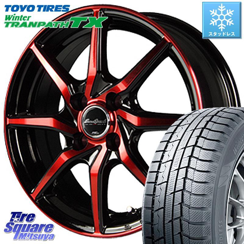 【8/25は最大21倍】 TOYO ウィンター トランパス TX 軽自動車 スタッドレスタイヤ 155/65R14 MANARAY Euro Speed S810 レッド ホイールセット 14インチ 14 X 4.5J +45 4穴 100