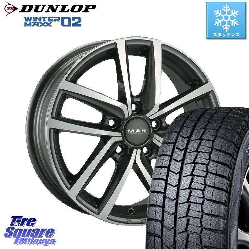 DUNLOP WINTER MAXX 02 ウィンターマックス WM02 ダンロップ スタッドレス 185/65R15 阿部商会 MAK DRESDEN ホイールセット 15インチ 15 X 6.0J(VW) +38 5穴 100