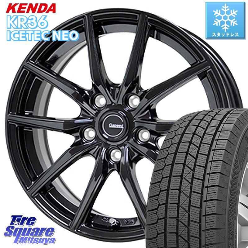 【8/25は最大21倍】 CX-3 オデッセイ ヴェゼル KENDA ICETEC NEO KR36 2020年製 ケンダ スタッドレスタイヤ 215/60R16 HotStuff G.speed G-02 G02 ブラック ホイールセット 16インチ 16 X 6.5J +53 5穴 114.3