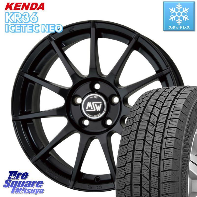 【9/10は10周年記念セール最大33倍】 KENDA ICETEC NEO KR36 2020年製 ケンダ スタッドレスタイヤ 205/55R16 MSW by OZ MSW85 ブラック ホイールセット 16インチ 16 X 7.5J(VW) +45 5穴 112