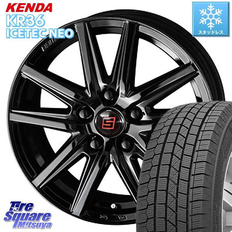 【8/25は最大21倍】 リーフ KENDA ICETEC NEO KR36 2020年製 ケンダ スタッドレスタイヤ 205/55R16 KYOHO SEIN-SS ザインSS ブラック ホイールセット 16インチ 16 X 6.5J +38 5穴 114.3