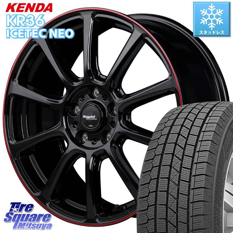 レヴォーグ オデッセイ KENDA ICETEC NEO KR36 2020年製 ケンダ スタッドレスタイヤ 225/45R18 MANARAY ラピッドパフォーマンス ZX10 ホイールセット 18インチ 18 X 7.5J +53 5穴 114.3