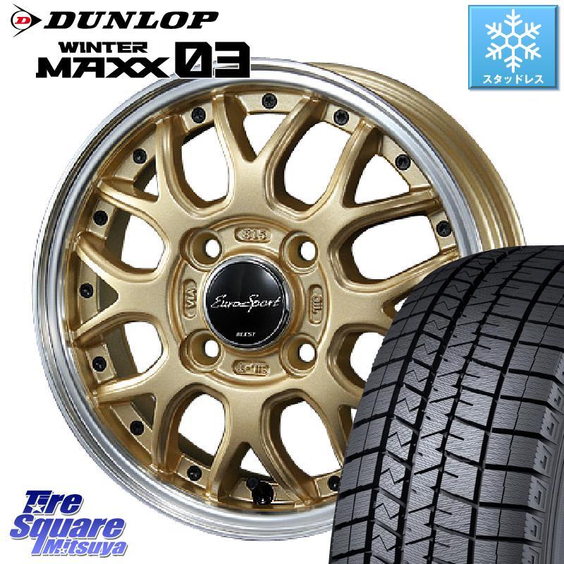DUNLOP WINTER MAXX 03 ウィンターマックス WM03 ダンロップ スタッドレスタイヤ 165/65R15 BLEST Eurosport Type815 ホイールセット 15インチ 15 X 5.5J +42 4穴 100