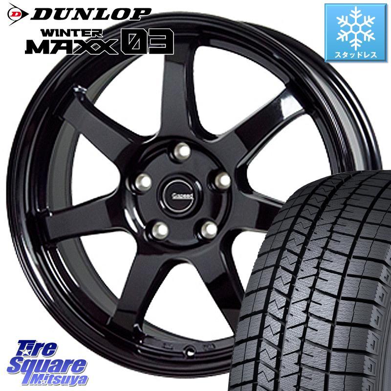 DUNLOP WINTER MAXX 03 ウィンターマックス WM03 ダンロップ スタッドレスタイヤ 195/65R15 HotStuff G-SPEED G-03 G03 ブラック ホイールセット 15インチ 15 X 6.0J +43 5穴 114.3