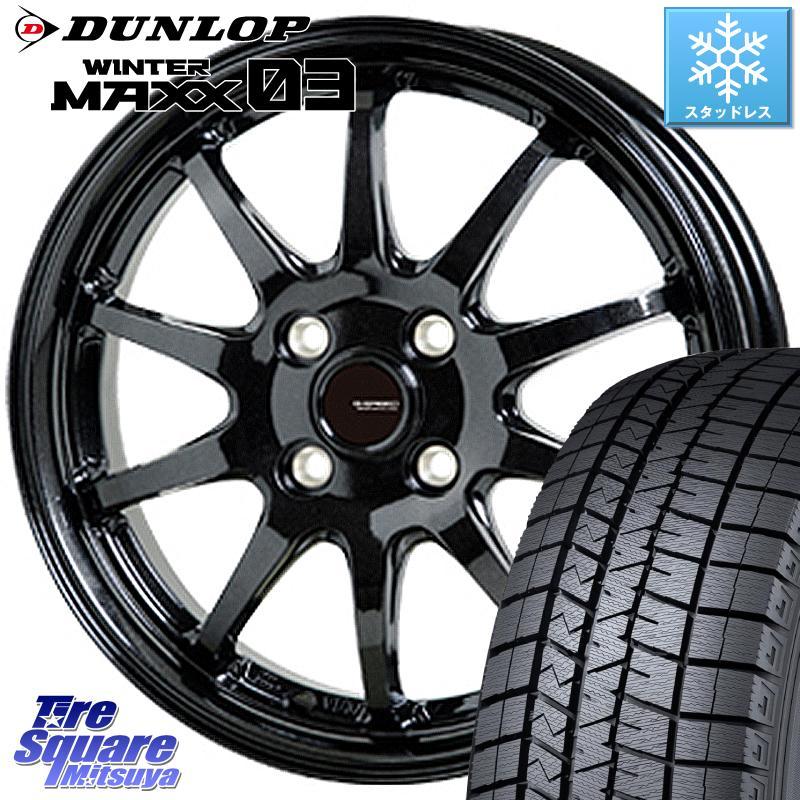 グレイス フィット DUNLOP WINTER MAXX 03 ウィンターマックス WM03 ダンロップ スタッドレスタイヤ 185/60R15 HotStuff G-SPEED G-04 G04 ブラック ホイールセット 15インチ 15 X 5.5J +50 4穴 100