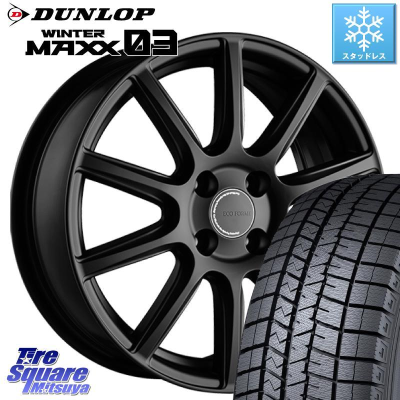 マーチ DUNLOP WINTER MAXX 03 ウィンターマックス WM03 ダンロップ スタッドレスタイヤ 165/70R14 ブリヂストン ECOFORM エコフォルム CRS131 ホイールセット 14インチ 14 X 5.5J +50 4穴 100
