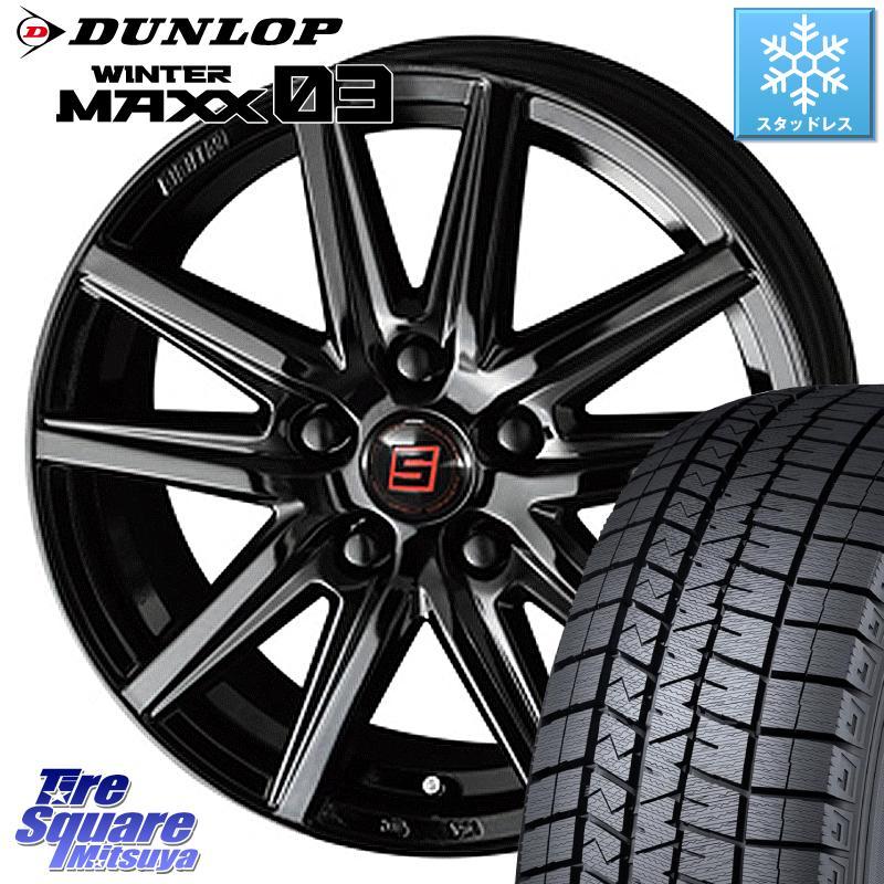 DUNLOP WINTER MAXX 03 ウィンターマックス WM03 ダンロップ スタッドレスタイヤ 195/65R15 KYOHO SEIN-SS ザインSS ブラック ホイールセット 15インチ 15 X 6.0J +45 5穴 114.3