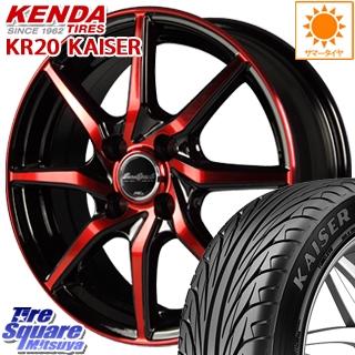 【8/5はお盆明け出荷セール】 デミオ フィット MANARAY Euro Speed S810 レッド ホイールセット 15インチ 15 X 5.5J +45 4穴 100KENDA ケンダ KAISER KR20 サマータイヤ 185/55R15