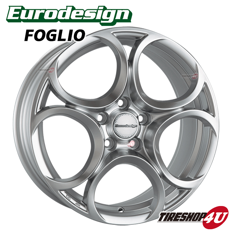 新品アルミホイール1本価格 18インチEurodesign FOGLIO 18×7.5J 5/110 +41 HUB:65.1φ純正ボルト対応ハイグロスシルバー アルファロメオ専用 ジュリエッタ全モデル