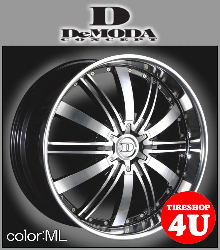 22インチDeMODA ディモーダ Absoluter アブソリュート ブラックポリッシュ/ミラーリップムラーノ ヴァンガード CX-7 レクサス RX スカイラインクーペ インフィニティFX35 エクスプローラー タイヤ付4本SET
