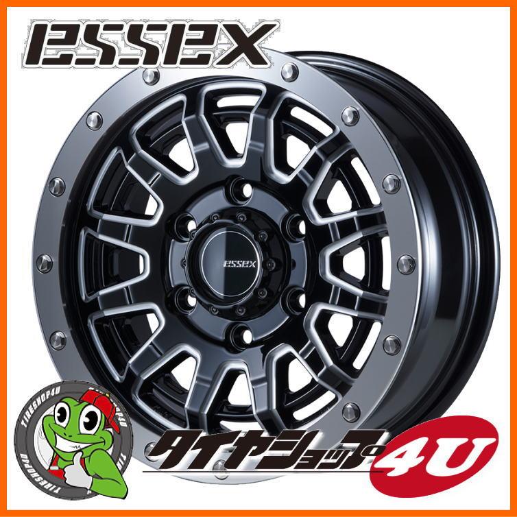 取付対象 15インチ ESSEX Type EX 15x6.0 ブラックマシニングトーヨー H20 195/80R15 107/105Lタイヤホイール4本セット 200系ハイエース、レジアスエース 新品エセックス タイプEX