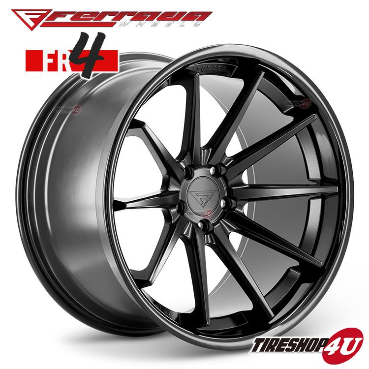22インチ Ferrada wheels FR4 22×9.0JPCD:5/112・5/114.3・5/120 color:マットブラック/SS グロスブラックリップ 新品アルミホイール単品1本価格 フェラーダホイールズ コンケーブ