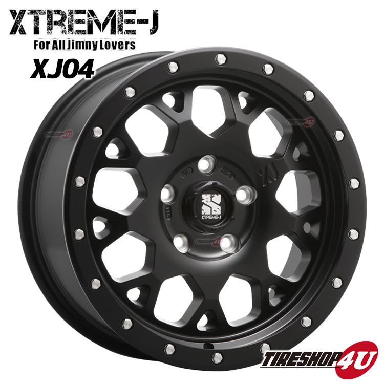 エクストリームJ XTREME-J XJ04 1445 14x4.5 4/100 +43サテンブラック 軽自動車全般、ソリオ対応