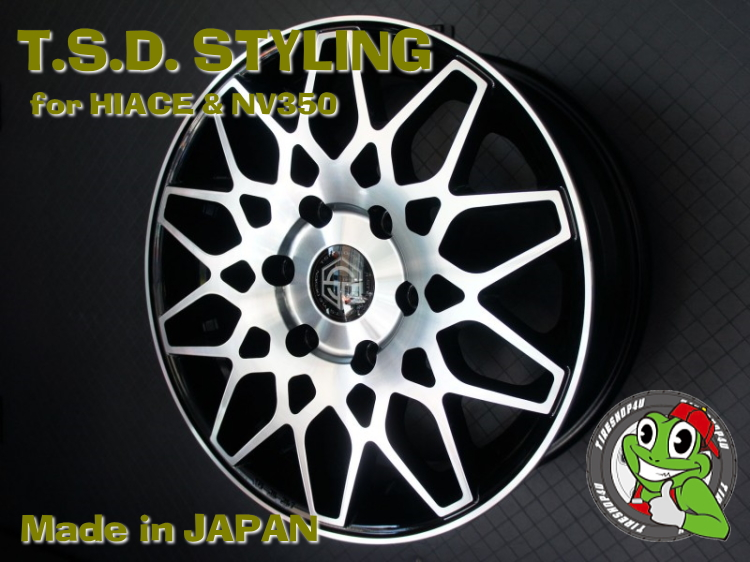 20インチ200系ハイエース、レジアスエース T.S.D. grenade wheels(ゲレネード) 20×8.5J ET38 ブラックポリッシュ(ツヤ有り)ナンカン NS20 225/35R20 新品タイヤホイールセット4本価格 JWL-T規格適合