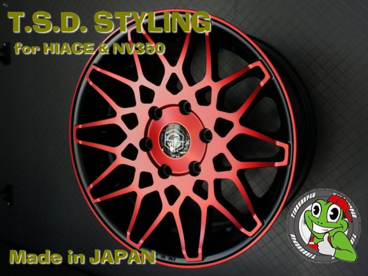 取付対象 17インチ200系ハイエース、レジアスエース T.S.D. grenade wheels(ゲレネード) 17×6.5J ET42 マットレッドクリアトーヨー H20 215/60R17 109/107R 新品タイヤホイールセット4本価格 JWL-T規格適合