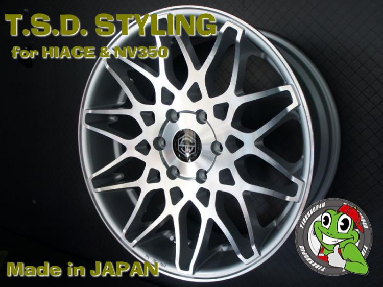 20インチ200系ハイエース、レジアスエース T.S.D. grenade wheels(ゲレネード) 20×8.5J ET38 シルバーポリッシュ(ツヤ有り)NITTO NT555 225/35R20 新品タイヤホイールセット4本価格 JWL-T規格適合