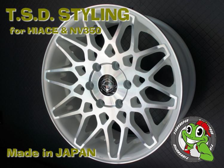 20インチ200系ハイエース、レジアスエース T.S.D. grenade wheels(ゲレネード) 20×8.5J ET38 ホワイトポリッシュNITTO NT555 225/35R20 新品タイヤホイールセット4本価格 JWL-T規格適合