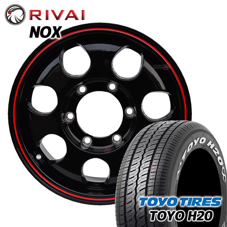 200系ハイエース/レジアスエース専用 RIVAI NOX 15×6.0J 6/139.7 +32 グロスブラック/レッドライン TOYO H20 195/80R15 107/105L 新品タイヤ・アルミホイール4本価格 ホワイトレター