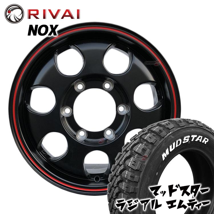 200系ハイエース/レジアスエース専用 RIVAI NOX 15×6.0J 6/139.7 +32 マットブラック/レッドライン MUDSTAR RADIAL M/T 195/80R15 107/105N 新品タイヤ・アルミホイール4本価格