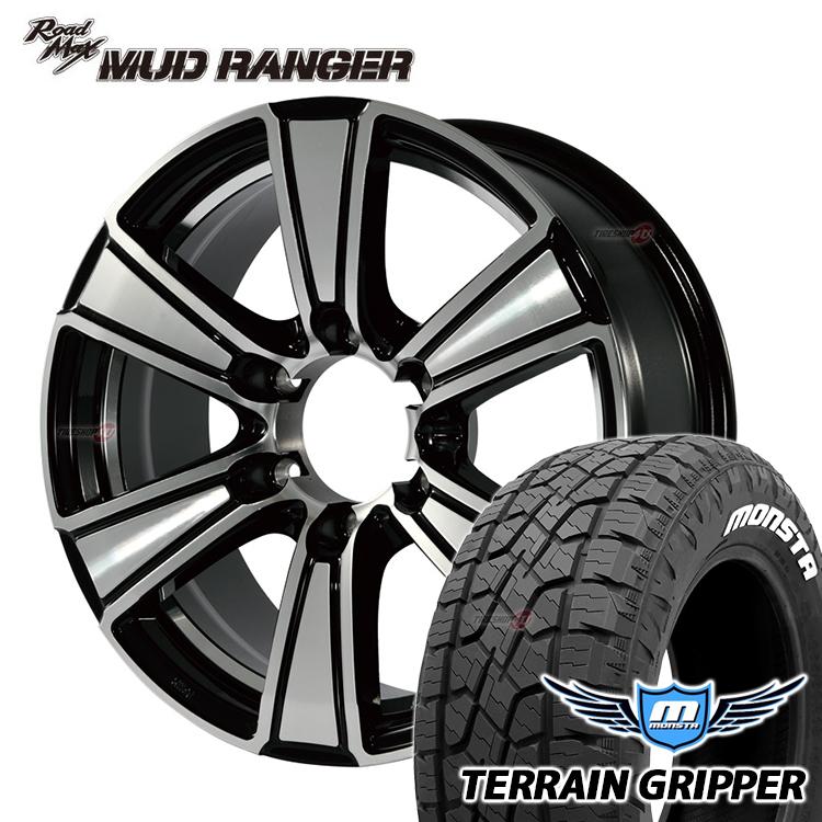 17インチ MUD RANGER 17x7.5 6/139.7 +25 ブラックポリッシュ MONSTA TERRAIN GRIPPER 265/65R17 タイヤホイール4本セット 210サーフ 150プラド マッドレンジャー モンスタ A/T AT オールテレーン
