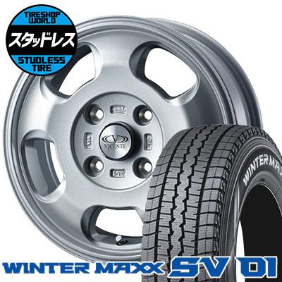 165/80R14 91/90N DUNLOP ダンロップ WINTER MAXX SV01 ウインターマックス SV01 VICENTE-05 NV ヴィセンテ05 NV スタッドレスタイヤホイール4本セット