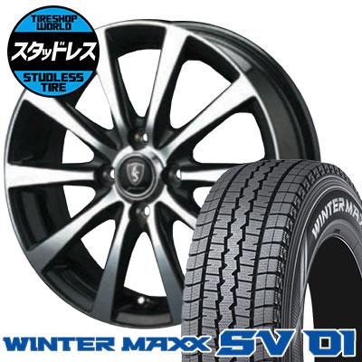 145R12 6PR DUNLOP ダンロップ WINTER MAXX SV01 ウインターマックス SV01 EuroSpeed BL10 ユーロスピード BL10 スタッドレスタイヤホイール4本セット