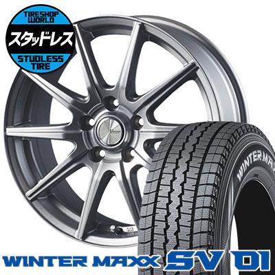 215/70R15 107/105L DUNLOP ダンロップ WINTER MAXX SV01 ウインターマックス SV01 V-EMOTION SR10 Vエモーション SR10 スタッドレスタイヤホイール4本セット