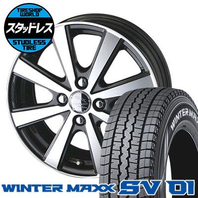 165/80R14 91/90N DUNLOP ダンロップ WINTER MAXX SV01 ウインターマックス SV01 SMACK VIR スマック VI-R スタッドレスタイヤホイール4本セット