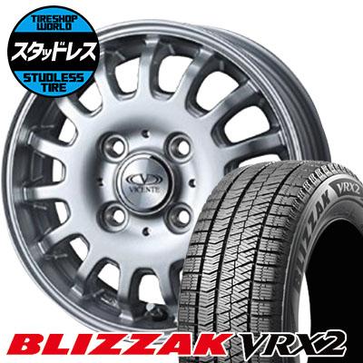 145/80R12 74Q BRIDGESTONE ブリヂストン BLIZZAK VRX2 ブリザック VRX2 VICENTE-04CA ヴィセンテ04 CA スタッドレスタイヤホイール4本セット