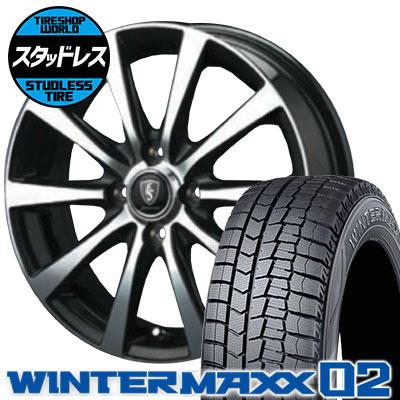 195/55R16 87Q DUNLOP ダンロップ WINTER MAXX 02 WM02 ウインターマックス 02 EuroSpeed BL10 ユーロスピード BL10 スタッドレスタイヤホイール4本セット