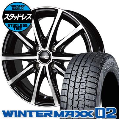 155/70R13 75Q DUNLOP ダンロップ WINTER MAXX 02 WM02 ウインターマックス 02 EuroSpeed V25 ユーロスピード V25 スタッドレスタイヤホイール4本セット