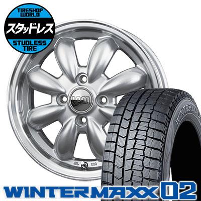195/50R16 84Q DUNLOP ダンロップ WINTER MAXX 02 WM02 ウインターマックス 02 LaLa Palm CUP ララパーム カップ スタッドレスタイヤホイール4本セット