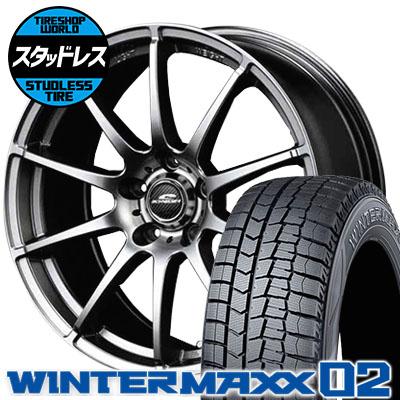 215/50R17 91Q DUNLOP ダンロップ WINTER MAXX 02 WM02 ウインターマックス 02 SCHNEDER StaG シュナイダー スタッグ スタッドレスタイヤホイール4本セット