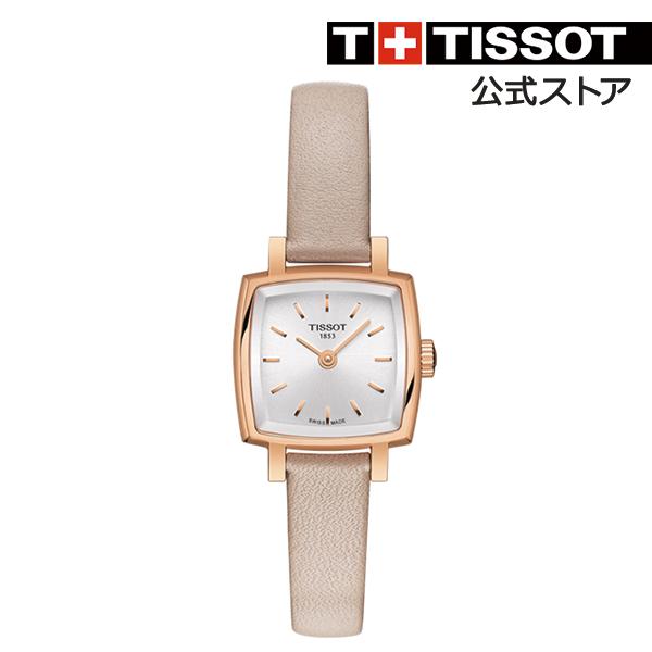 TISSOT 腕時計 ティソ 公式 レディース ラブリー スクエア クォーツ シルバー文字盤 ピンクレザー
