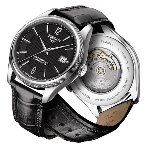 5bf598be47 TISSOTバラードコスクパワーマティック80ブラック文字盤レザー【ティソ時計腕時計う