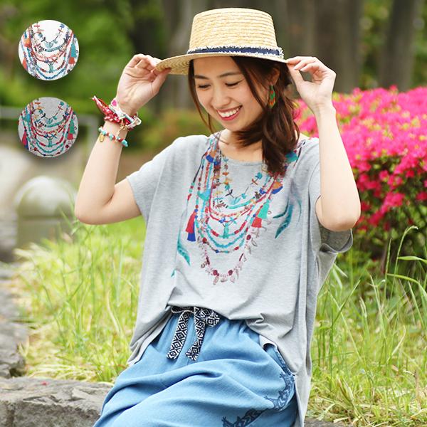 レイヤードネックレス Tシャツ