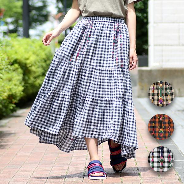 イェイ刺繍ギンガムチェック スカート