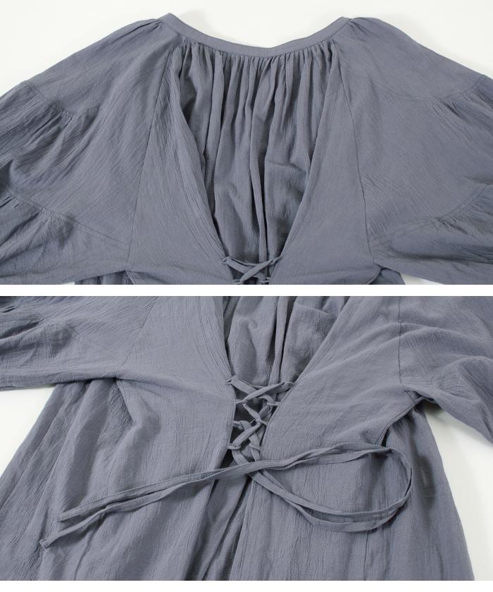 袖ボリュームレースアップワンピース/さらっと着用するだけで抜け感を演出/ワンピース/レディース/ミモレ丈/フレア/Vネック/ボリュームスリーブ/バックレースアップ/シンプル/薄手