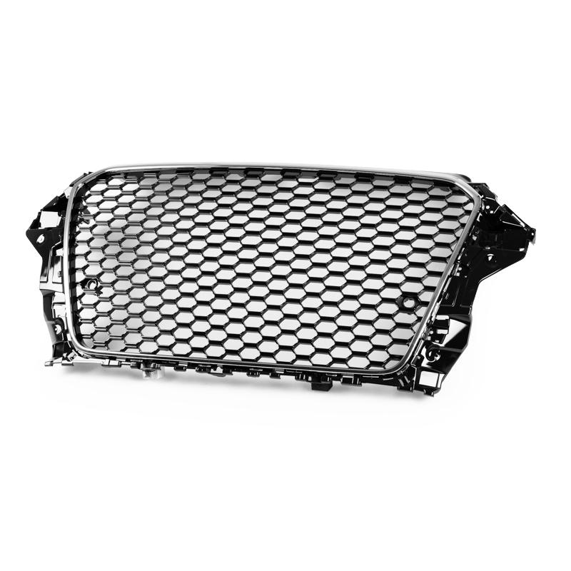 アウディA3 S3 前期 8V フロントパーキングセンサー装備車用 Ver2. 2013-2016 光沢グロスブラック×クロームメッキ RS3スタイル メッシュフロントグリル【___OCS】