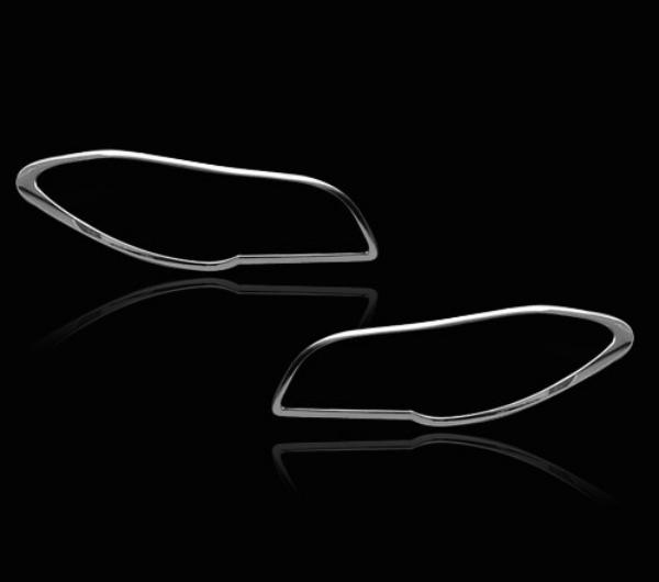 BMW 5シリーズ F10用 2010-2016 クロームメッキ フロントランプリム ヘッドライト トリム ヘッドランプリム ベゼルカバー【___OCS】