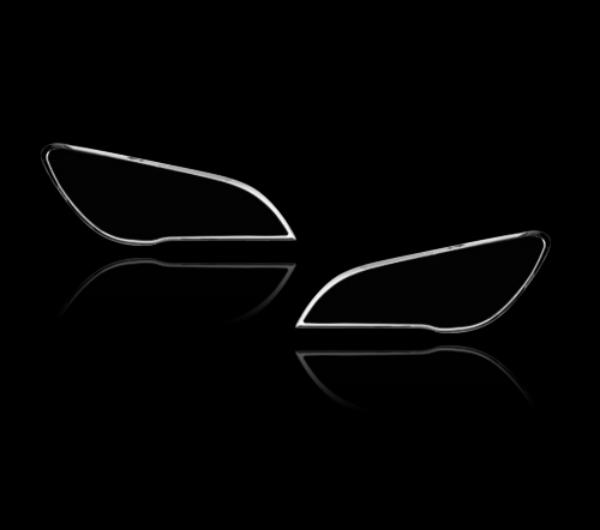 BMW 7シリーズ F01用 2009-2015 クロームメッキ フロントランプリム ヘッドライト トリム ヘッドランプリム ベゼルカバー【___OCS】