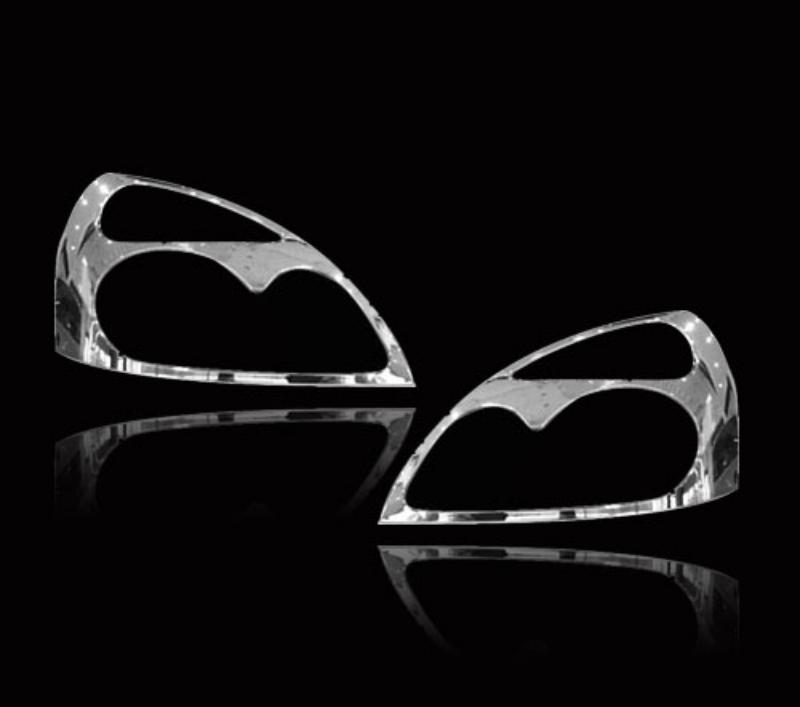 ルノー クリオ用 1998-2008 クロームメッキフロントランプリムヘッドライト トリムヘッドランプリム ベゼルカバー【___OCS】