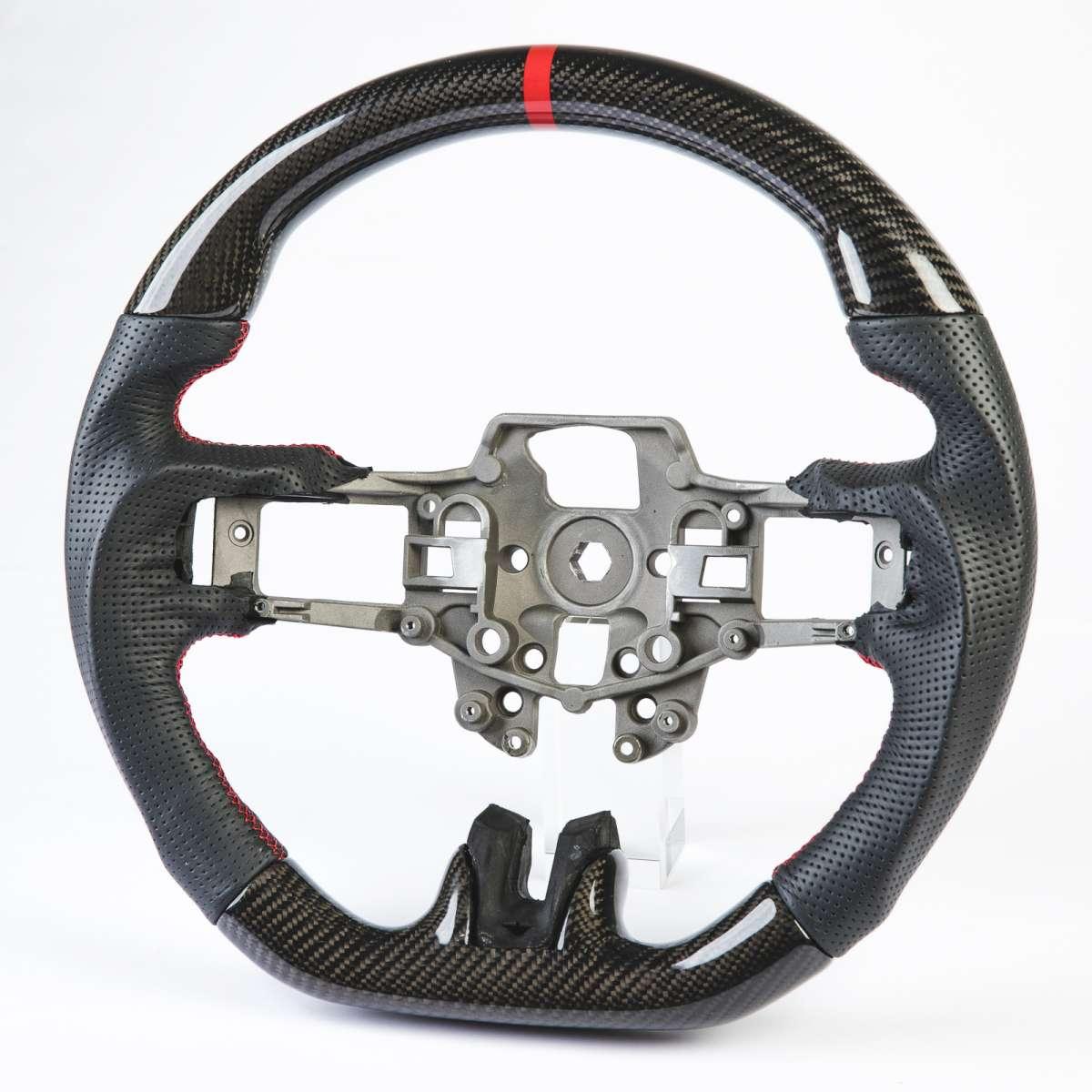 フォード マスタング エコブースト 5.0GT 前期用 ステアリング ハンドル 赤い輪デザイン リアルカーボン+本革レザー パッチング【___OCS】