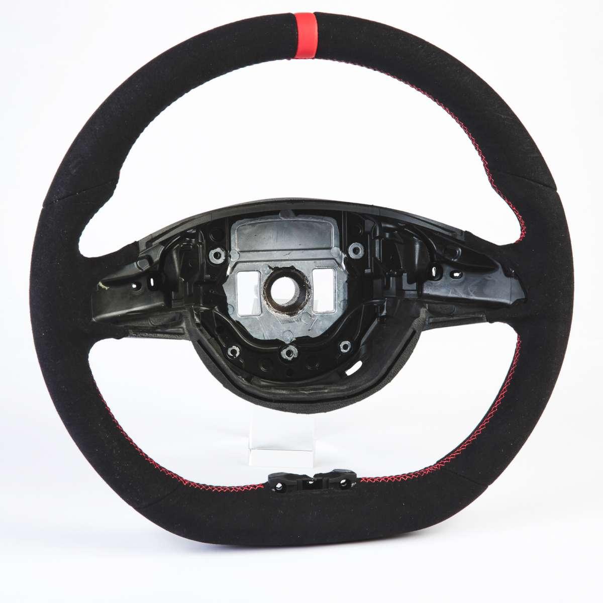 メルセデス ベンツ Cクラス 4代目 W205 C205 D型 スポーツ ステアリング ホイール ハンドル 赤い輪デザイン 本革スエード【___OCS】