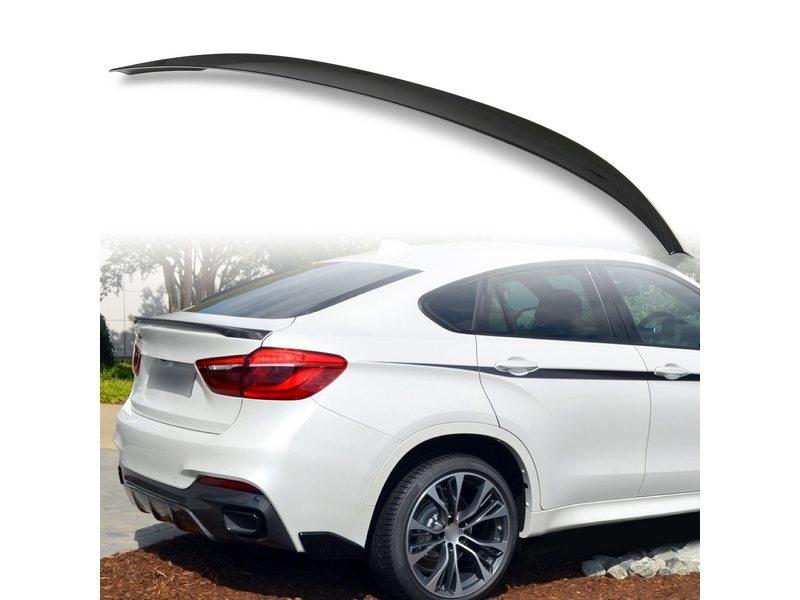 BMW X6 F16 F15用 SUV 2014-2018 ABS製 カーボン調(水圧転写) リアトランクスポイラー Pスタイル【___OCS】