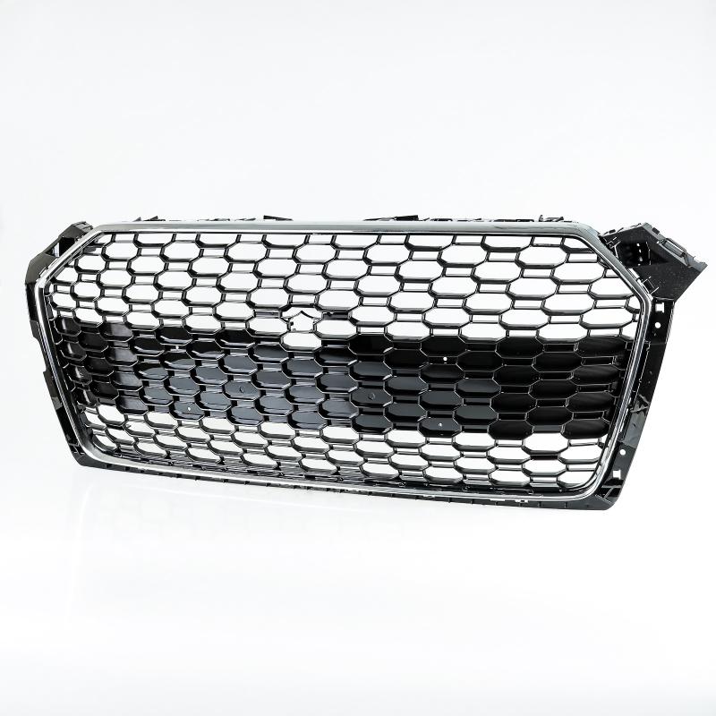 アウディ A5 S5 RS5用 2017-2020 RS5スタイル クロームメッキ×光沢グロスブラック メッシュグリル フロントグリル【___OCS】