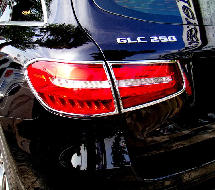 メルセデスベンツ GLCクラス X253用 2015-2020 クロームメッキ テールランプリム リアランプリム テールライト トリム ベゼルカバー【___OCS】