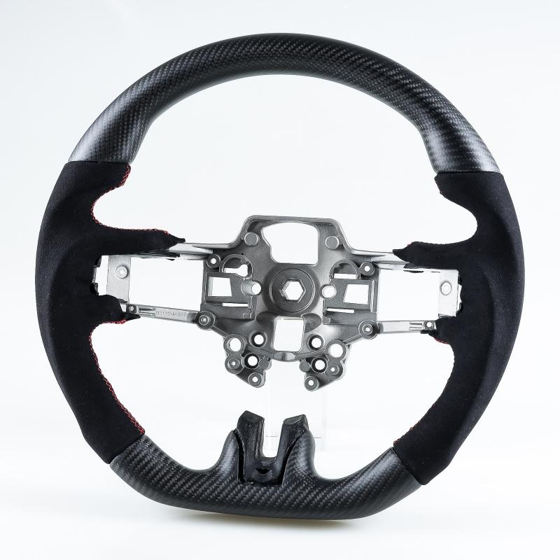 フォード マスタング 後期用 2019-2020 D型 ステアリング ホイール ハンドル マットブラックカーボン×本革スエード×赤ステッチ【___OCS】