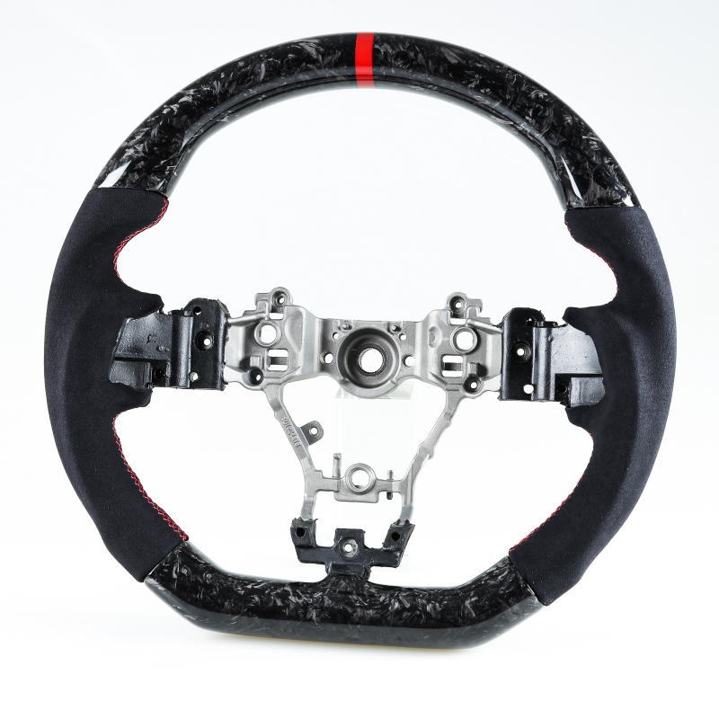 スバル レヴォーグ WRX STI用 D型 ステアリング ホイール ハンドル フォージドカーボン×本革スエード×赤い輪デザイン【___OCS】