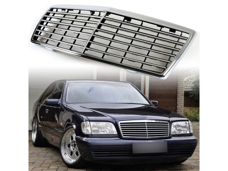 ベンツW140 クロームメッキブラックフレームフロントグリル/Sクラス/1992-1999年/メルセデス/Mercedes-Benz 送料無料【___OCS】